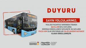 İki Toplu Taşıma Hattının Güzergahı Güncellendi