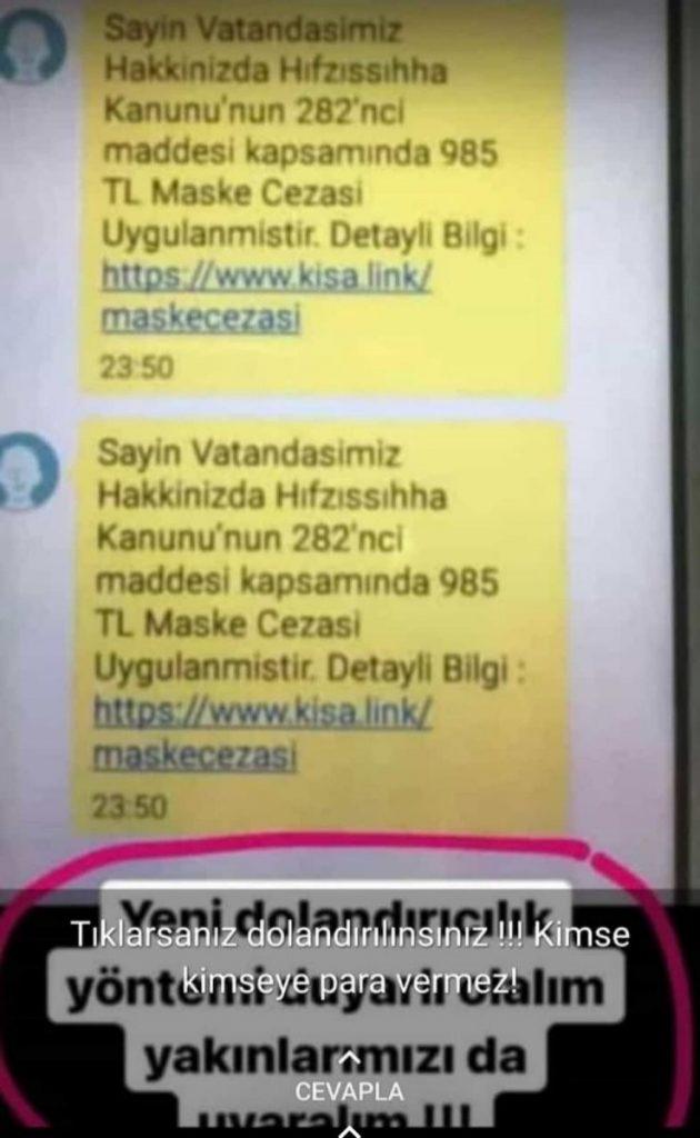 Kastamonu da sahte maske cezası mesajıyla 300 bin lira dolandırdılar #1
