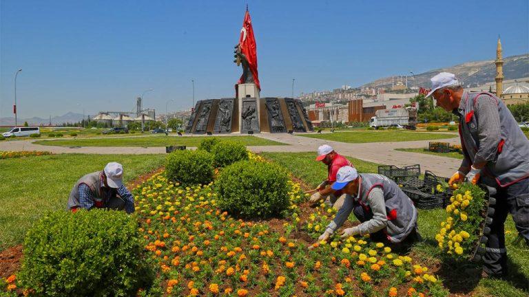 555 Bin Mevsimlik Çiçeklerle Kavşaklar Renkleniyor